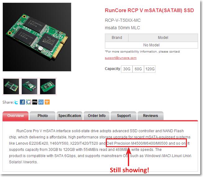 RunCore mSata SSD on Dell precision laptops (2/2)